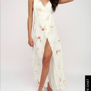 lulu's maxine ivory floral print wrap dress